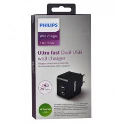 Зарядно Phillips Ultra Fast Dual USB