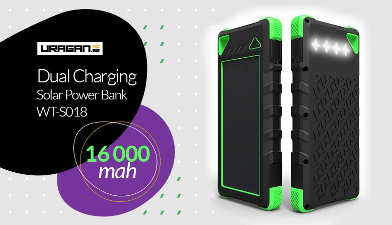 Power Bank WAYTO 16000 mah Solar panel + LED