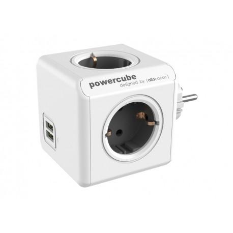 Разклонител, Allocacoc POWER CUBE 1202GY 4 outlets + 2 USB